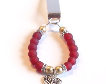 Women's Beaded Bookmark RED & GOLD with Filigree HEART Charm