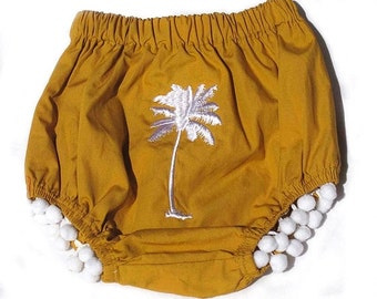 Organic Cotton Nappy Cover, Bloomers with Pom Poms and Palm Tree Embroidery
