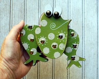 Frog Ornament, Recycled Hand Made Frog Ornament Original Frog Art
