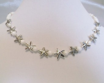 Silver Starfish and Shell Beads 17 inch Necklace