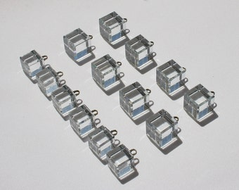 14 Vintage 1960s Clear Glass Cube with Silver Shank Buttons, Very Unique Mod Style