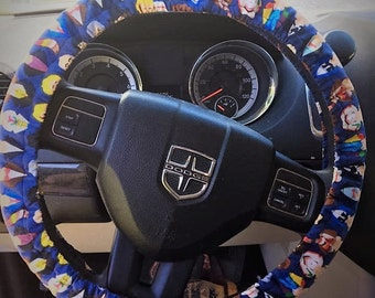 Steering wheel cover made from the 12 Doctors, Doctor Who cotton fabric