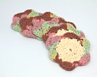 Makeup Removers- Crochet Face Scrubbies- Facial Cleansing Pads- Washcloth- drink coasters