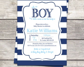 striped baby boy shower invitation, mustache, navy stripes and chalkboard, custom colors printable