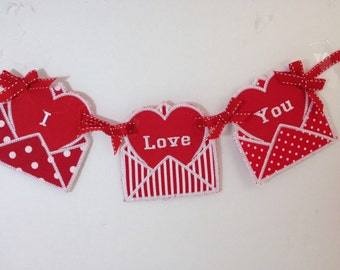 Valentine's Day I Love You Banner, Valentine banner, Envelope heart