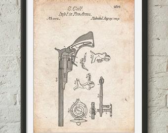 Colt Paterson Patent Poster, Pistol, Revolver, Gun Enthusiast, Gun Art, PP0409
