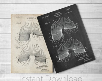 Slinky Toy Patent Printables, Retro Toys, Unique Gifts, Vintage Toys, Play Room Decor,  PP0125
