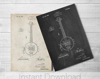 Banjo Printables, Folk Music, Musician Gift, Bluegrass, Music Room Wall Decor, PP0242