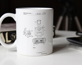 Super Nintendo Console Remote and Cartridge Patent Mug, SNES, Game Room Decor, Gamer Gift, Technology Mug, Nintendo Gifts, PP1072