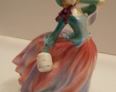 Royal Doulton Autumn Breezes Green & Pink Lady Figurine