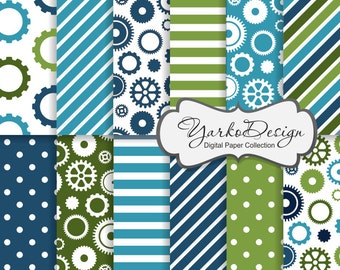 Steampunk Gears Paper, Blue And Green Gears Silhouette Pattern, Sprocket Digital Paper, Cogwheel, Background - Instant Download - YDP012