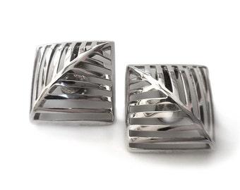 Georg Jensen Earrings Nanna Ditzel Sterling Silver Grates 389 Danish Modern Rare Mid Century Jewelry