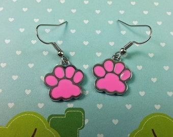 Pink Pawprint Earrings. Paw Print. Animal Lover. Charm Earring. Enamel Earrings. Dog Earrings. Cat Earrings. Pfoten Ohrringe. E-71