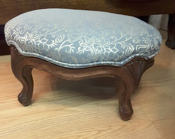 Antique Victorian style walnut footstool / ottoman, custom reupholstered
