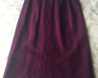 Courreges Skirt, Dark Purple, Button Back
