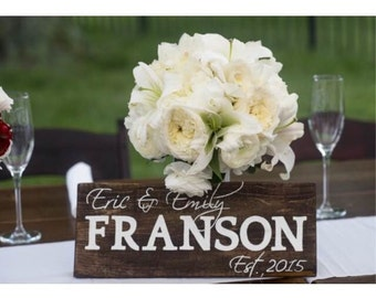 Sign, Personalized Wedding Sign for Bride and Groom with Last Name and Wedding Date
