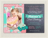 First Birthday Invitation Girl / First Birthday Cupcake  Invitation / Printable Download /  Pink Aqua Cupcake Invite / Digital Chevron (52)