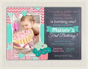 First Birthday Invitation Girl / First Birthday Cupcake  Invitation / Printable Download /  Pink Aqua Cupcake Invite / Digital Chevron (52)