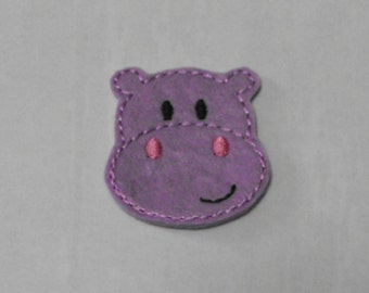 Lavender Hippo felties, felt paper clip, badge reel, felt brooch, felt bookmark, planner clip, felt hair clip, key chain, feltie supplies