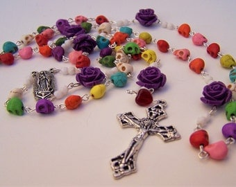 Colorful Day Of The Dead Sugar Skull  Rosary in Honor of Our Lady of Guadalupe