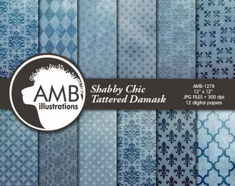 80%OFF Damask Digital Paper, Grunge Damask Pattern, Shabby Chic damask, watercolor scrapbook papers, digital paper,commercial use, AMB-1398