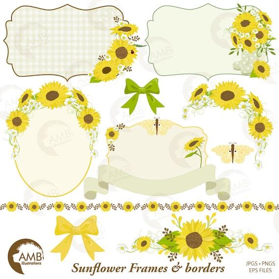 Sunflower Frames Clipart Wedding Shabby Chic Sunflowers Border Commercial Use AMB 1429