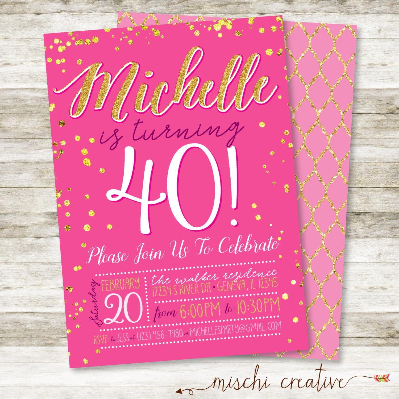 40th Birthday Invitation For Her Simple Glam Milestone