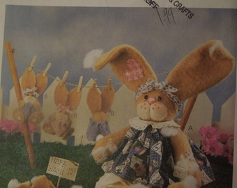 "McCalls 9210, crafts ,bazaar, Easter Bunny, stuffed bunny, 13"" and 6"", UNCUT sewing pattern, craft supplies"