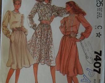Dress, misses, womens, teens, petite, size 8, McCalls 7407, UNCUT sewing pattern, craft supplies