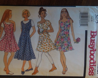 Butterick  Busybodies 3275, girl's dress and leggings, UNCUT sewing pattern, craft supplies, sizes 7-10