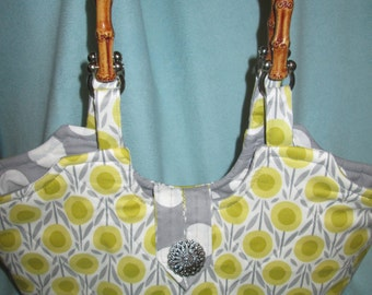 Floral Summer Purse with Bamboo Handles