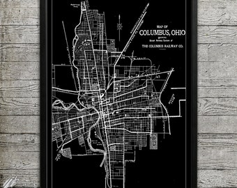 Map of COLUMBUS Print, Wall Decor for your Home or Office