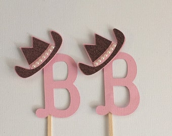 Cowgirl initial cupcake topper