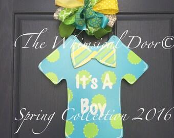 Its A Boy Onesie Wreath Birth Announcement Door Hanger Its A Boy Wreath Baby Announcement