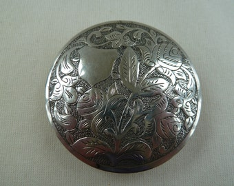 Vintage Jeruselum silver ladies powder compact. Art deco, 1930s, thirties vintage compact. collectable compact.
