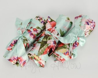 Mint Green Floral Satin Robe - Bridesmaid or Flowergirl Gift, Wedding Favor - Monogrammable: sizes 0-26 standard or petite, child sizes