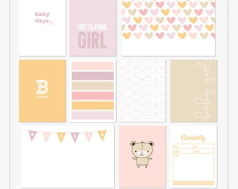 Baby Days (Girl) - Printable journal cards for pocket and digital scrapbooking by Mira Designs