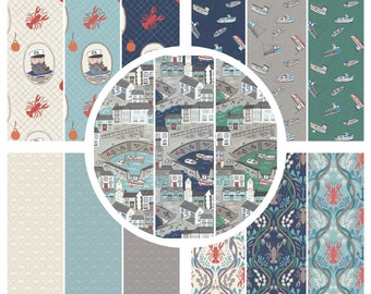 Fabric Bundle 'Special Offer' 5 x Half metres Lewis & Irene Patchwork Quilting Harbour Side