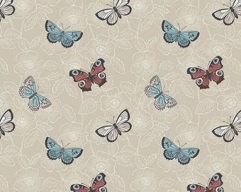 The Botanist A125-2 Natural butterfly sketch Lewis & Irene Patchwork Quilting Fabric