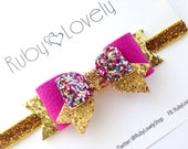 Baby/Girls Pink Gold Glitter Bow Headband/Hair Clip, pink gold birthday bow, Pink Leather Bow Hair Clip, Sparkle Wedding Bows,  birthday bow