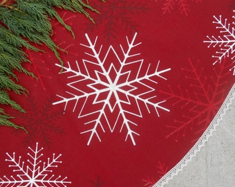 burgundy red christmas tree skirt snowflakes fabric xmas tree skirt swedish christmas ornament snowflakes decor xmas - Christmas Tree Skirts