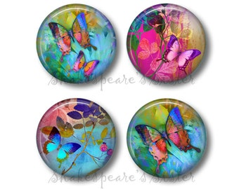 Butterfly Decor - Fridge Magnets - Butterfly Kitchen - 4 Magnets - 1.5 Inch Magnets - Kitchen Magnets