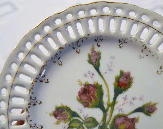 Vintage Decorative Plate Rose Flower Lattice Rim Pink Green Japan PanchosPorch