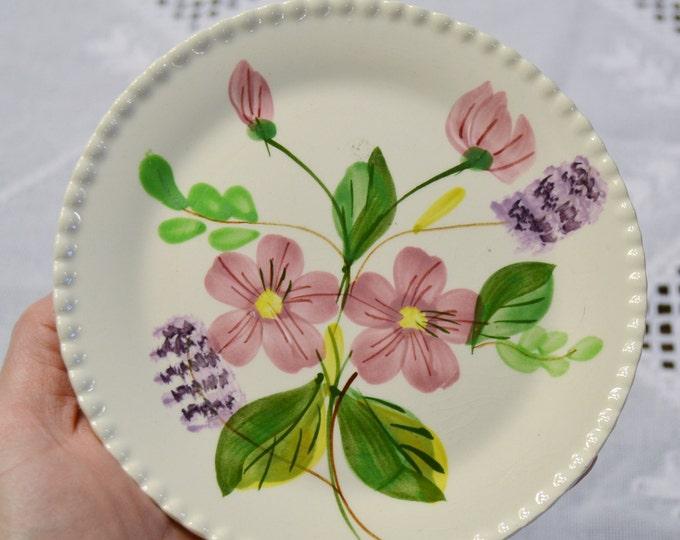 Vintage Blue Ridge Pottery Bread Plate Pink Purple Flower Southern Potteries SPI PanchosPorch