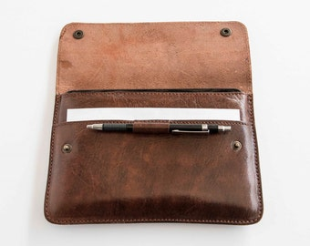 Leather slim iPad Mini case / sleeve in dark cognac, handmade cover