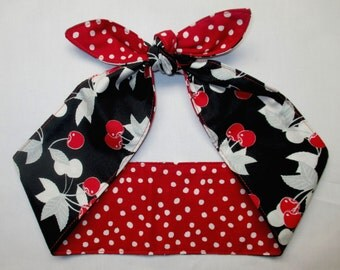 REVERSIBLE Wide Headband Head Scarf  CHERRIES Red and White Polka Dots Pinup Vintage Retro Style 50s Rockabilly Head Wrap Scarf Bandana