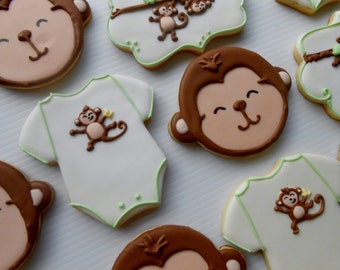 One Dozen Monkey Baby Shower Cookies
