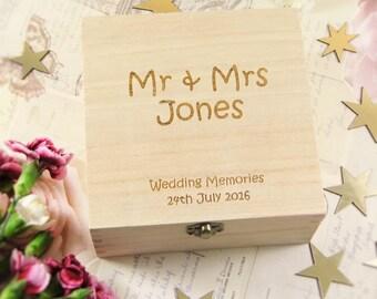 Personalised Wedding Memories Wooden Box - Wedding Gifts, Nostalgic Gifts, Couples Box, Wedding Keepsake Box, Engraved Wedding Boxes