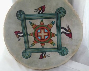 Handpainted Gourd drum with beater