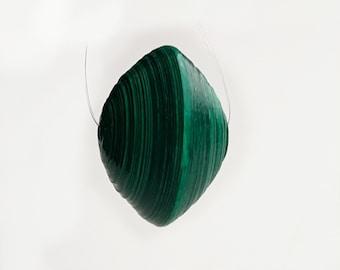 Emerald green saucer paper bead,  focal bead